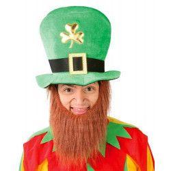 Chapeau Saint Patrick avec barbe Accessoires de fête 18400