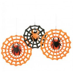 Lot 3 suspensions rosace orange et noir Halloween Déco festive 291095