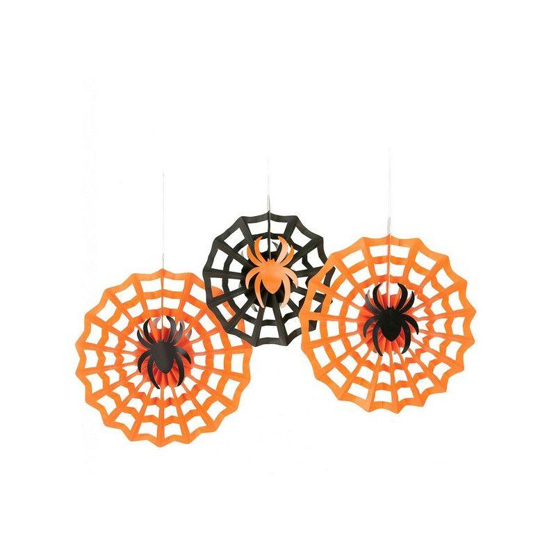 Lot 3 suspensions rosace orange et noir Halloween Déco festive 291095