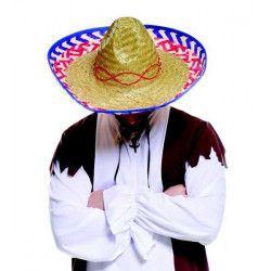 Accessoires de fête, Chapeau paille sombrero mexicain 50 cm, CF615506, 4,50€
