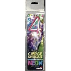 Divers, Cierge magique fluo numéro 4, SC25204, 1,50€