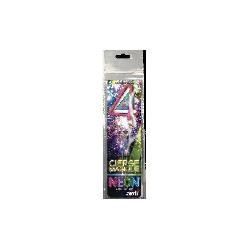 Cierge magique fluo numéro 4 Artifices SC25204