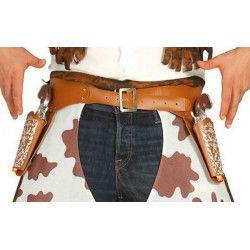 Cartouchières marron avec pistolets bruiteurs Accessoires de fête 18441