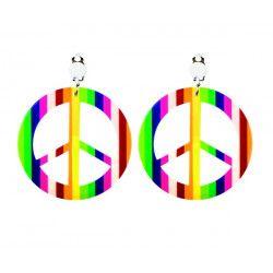 Boucles d'oreilles rondes Peace and Love adulte Accessoires de fête 64502