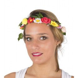 Couronne de fleurs multicolores Accessoires de fête 10135