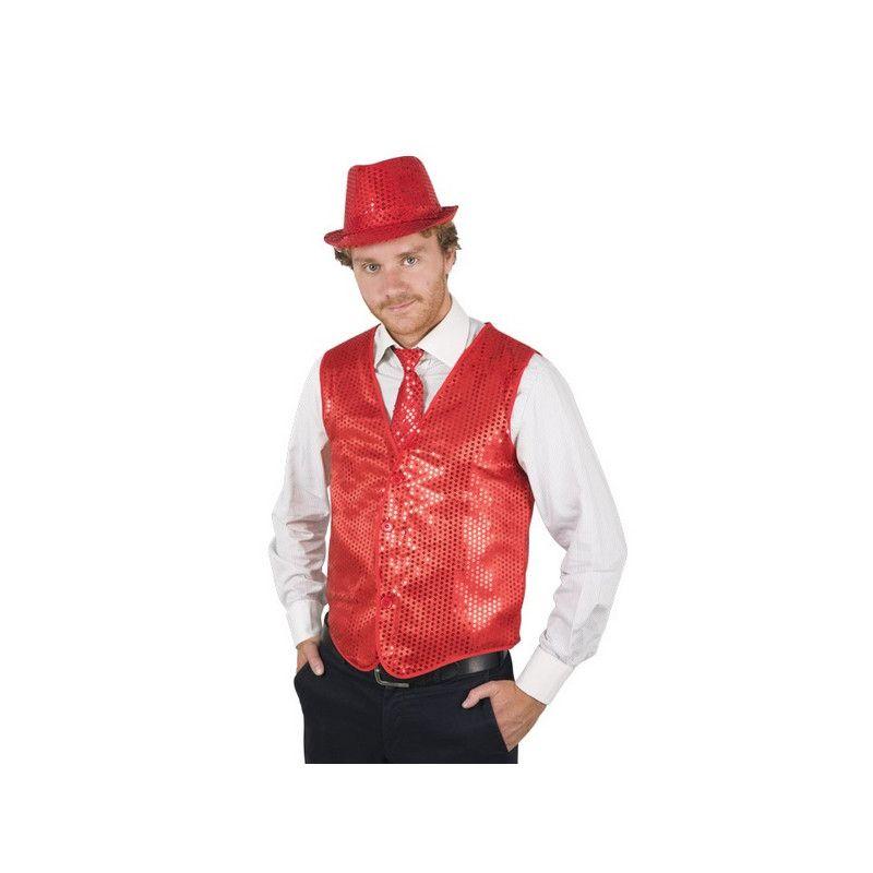 Gilet sans manches - sequins rouges - Taille M-L Déguisements 16633