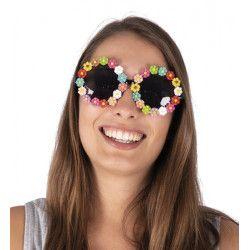 Lunettes plastique mini fleurs multicolores Accessoires de fête 18524