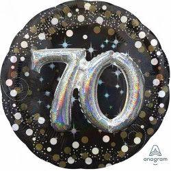 Déco festive, Ballon aluminium rond holographique 70 ans, 3740201, 14,90€