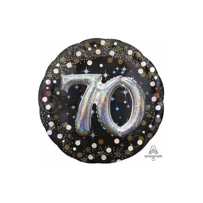 Ballon aluminium rond holographique 70 ans Déco festive 3740201