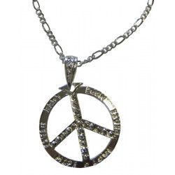 Collier hippie peace and love métal argent 5.5 cm Accessoires de fête 45000