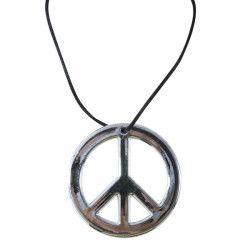 Collier hippie métal argenté Peace And Love Accessoires de fête 50098