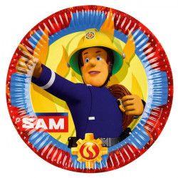 Assiettes Sam le Pompier™ x 8 en carton 23 cm Déco festive 9902175
