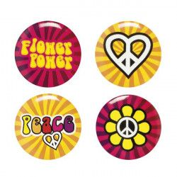 Déco festive, Pins hippie Flower Power x 4, 78385, 2,40 €
