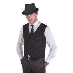 Déguisements, Gilet sans manches - tissu noir rayures blanches - homme, 4391-, 14,50€