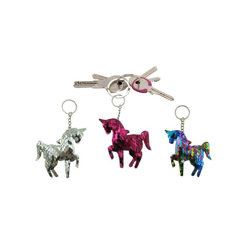 Lot 12 porte-clés licorne sequins Jouets et articles kermesse 18410-LOT
