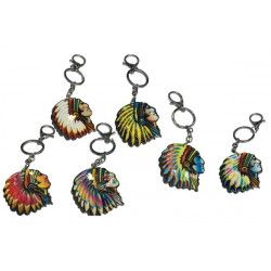 Lot 12 porte-clés tête indien 3 cm Jouets et articles kermesse 18960