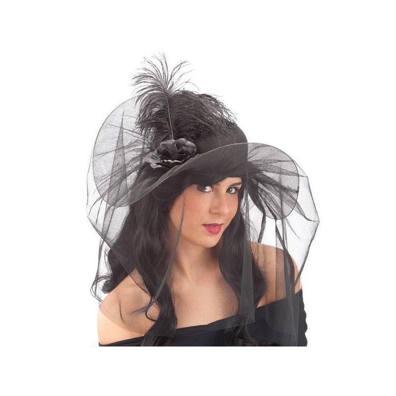 Chapeau noir de veuve avec voile Accessoires de fête 6106