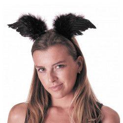 Serre-tête ailes d'ange noires Accessoires de fête 333205