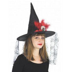 Chapeau sorcière avec clown et voile araignées Accessoires de fête 871005