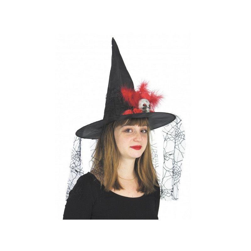 Chapeau sorcière avec crâne et voile araignées Accessoires de fête 871005