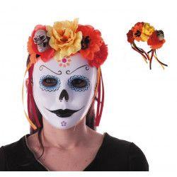 Serre-tête Dia de la Muerte avec fleurs rouges et orange Accessoires de fête 90243