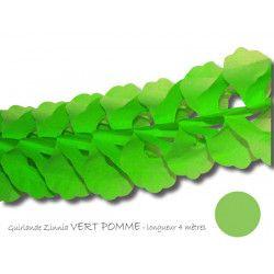 Déco festive, Guirlande zinnia papier soie 4 m - Vert pomme, 03201VO, 3,35€