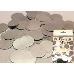 Sachet 15 grammes confettis 2,5 cm métallisé : Argent Déco festive 22605AR