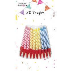 Déco festive, Blister 20 bougies anniversaire avec supports, 42691, 1,40€