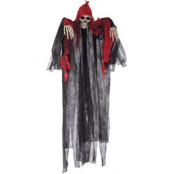 Squelette sorcière à suspendre noire et rouge 120 cm Déco festive 08434