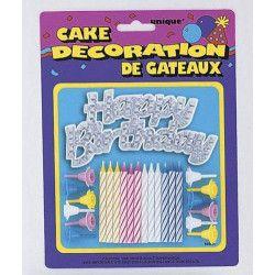Déco festive, Bougies et décoration argentée Happy Birthday pour gâteau, U49001, 2,90€