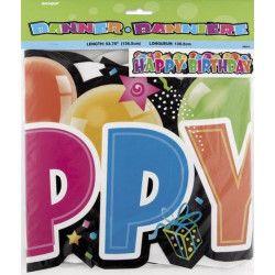 Bannière articulée Happy Birthday 132 cm Déco festive U90012