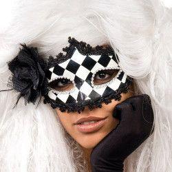 Masque Vénitien mascarade à damier noir et blanc avec rose noire Accessoires de fête 00812