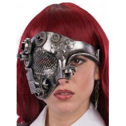 Demi masque steampunk plastique argent Accessoires de fête 01760