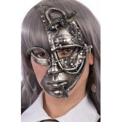 Masque steampunk plastique argent Accessoires de fête 01761