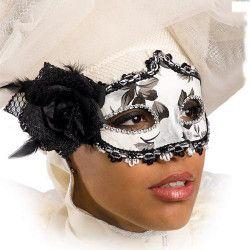 Masque vénitien blanc et noir avec rose et plumes Accessoires de fête 00813