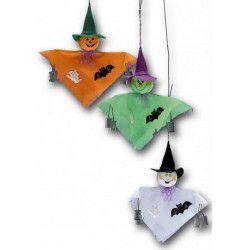 Fantôme déco halloween avec clochettes à suspendre Déco festive 07531