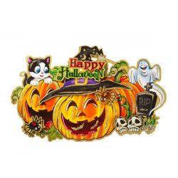 Déco festive, Poster décoration citrouille Happy Halloween en relief et scintillant, 08485, 4,50€