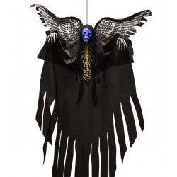 Déco festive, Squelette déco halloween avec ailes imprimées à suspendre, 08556, 18,50€
