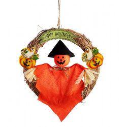 Déco festive, Couronne halloween avec fantôme citrouille à suspendre, 08999, 4,50€