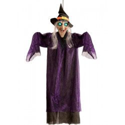 Déco festive, Sorcière déco halloween avec mouvements, sons et lumière à suspendre, 09143, 42,90€