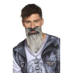Barbe et moustache grise biker Accessoires de fête 01848