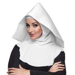 Coiffe blanche religieuse mère supérieure Accessoires de fête 04235