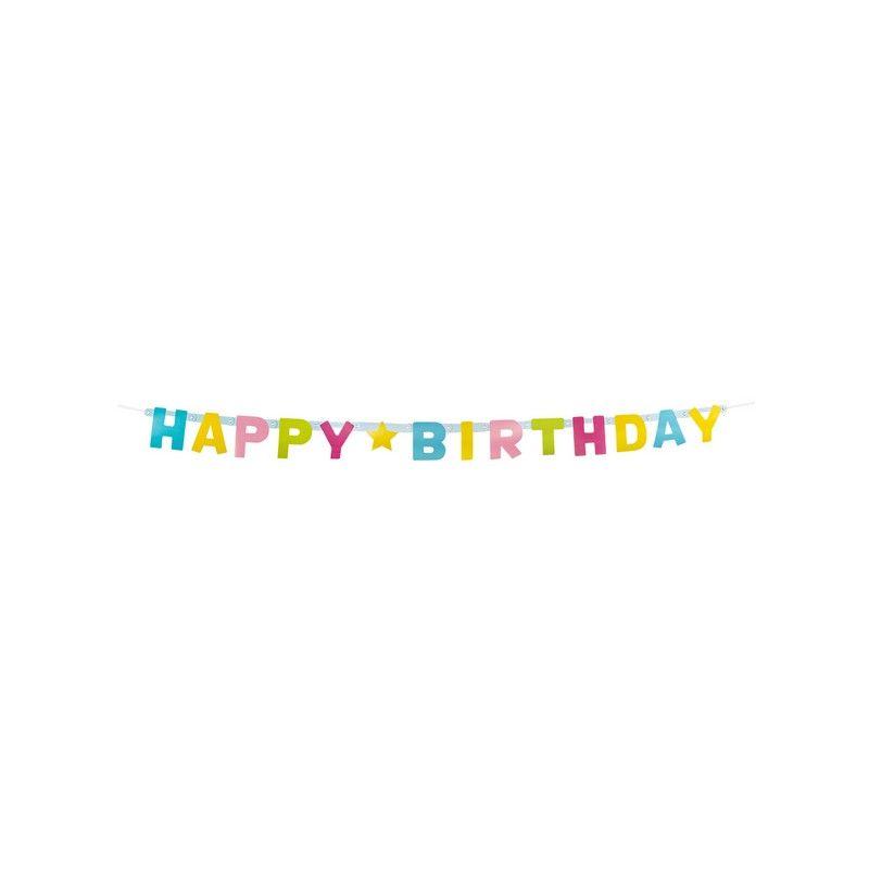 Guirlande lettres carton Happy Birthday 150 cm Déco festive 31011BO