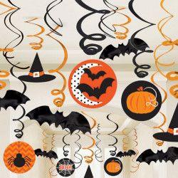 Lot 30 Vivartelles métallisées orange et noires halloween Déco festive 671300-55