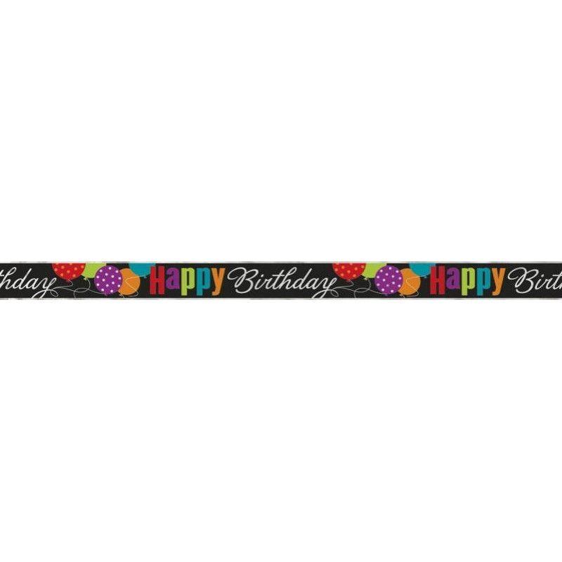 Bannière noire Happy Birthday motifs colorés 3.6 m Déco festive U45832LF