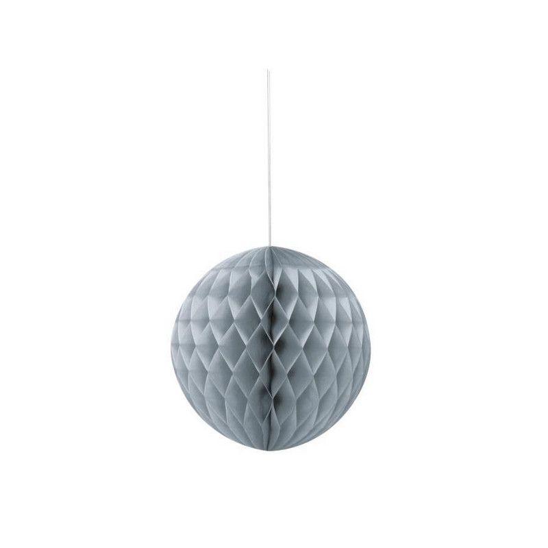 Boule alvéolée argent 15 cm Déco festive U63224