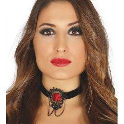 Collier noir avec rose rouge Accessoires de fête 17223