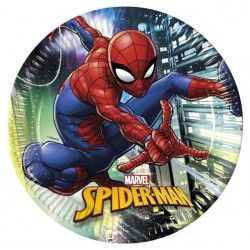 Assiettes jetables anniversaire 23 cm Spiderman Team Up™ x 8 Déco festive LSPI89445