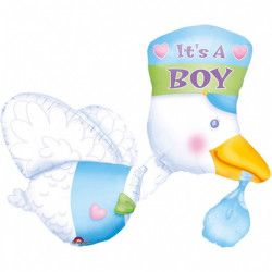 Ballon multi alu cigogne 75 cm - It's a Boy Déco festive 07063 01