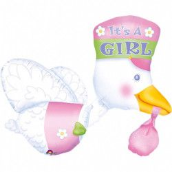 Ballon multi alu cigogne 75 cm - It's a Girl Déco festive 07026 01